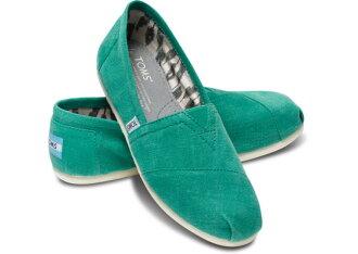 【TOMS】綠色亞麻平底休閒鞋 Earthwise Green Women\