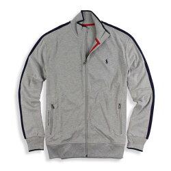 美國百分百【全新真品】Ralph Lauren RL 小馬 立領 外套 夾克 POLO 棉質 灰色 滾邊 L號 I780