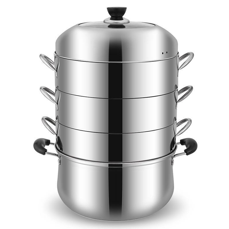 蒸鍋原味蒸飯鍋不串味蒸鍋三層加厚不銹鋼家用 蒸鍋多層節能蒸籠