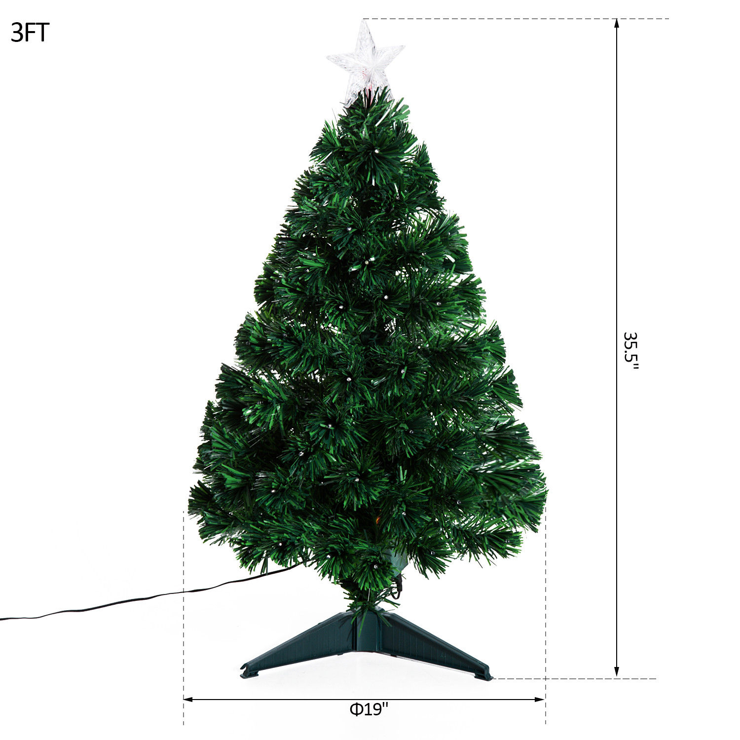3' Artificial Fiber Optic / LED Light Up Christmas Tree w/ 8 Light Settings and Stand 3