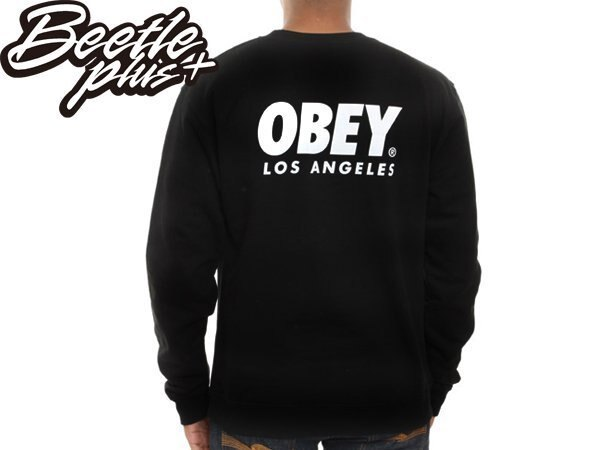 BEETLE PLUS OBEY WORLDWIDE LOS ANGELES 城市 洛杉磯 黑 白 文字 長袖 TEE 111740610BLK OB-264 1