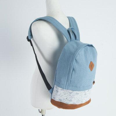 LINAGI里奈子精品【IE789-63-45】簡單時尚雙色混搭拼接花漾圖樣設計內點點內襯拉鍊袋筆電夾層可放A4帆布後背包