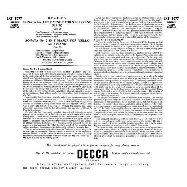 【停看聽音響唱片】【黑膠LP】布拉姆斯:第一、二號大提琴奏鳴曲 (180g LP)