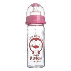 PUKU 寬口玻璃奶瓶-粉230cc『121婦嬰用品館』