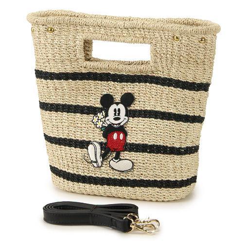 迪士尼Accomode聯名米奇米妮藤編斜背包手提包小號橫條528002代購