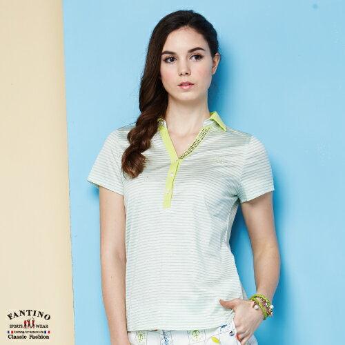 【FANTINO】女裝 夏日清新感80支雙絲光棉polo衫 (粉綠、紅) 571101-571102 4
