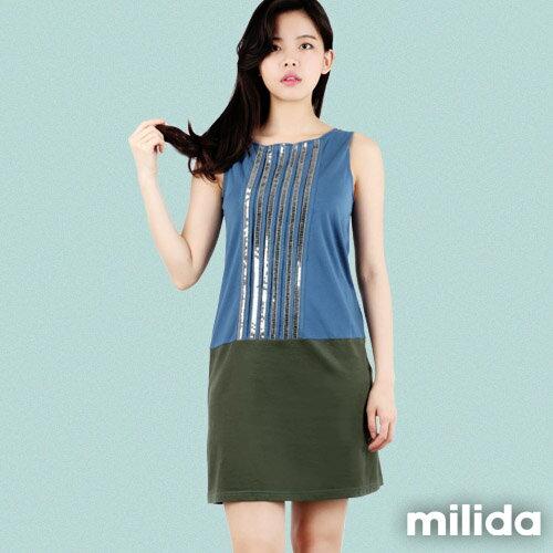 【Milida,全店七折免運】-早春商品-無袖款-撞色亮片拼貼洋裝