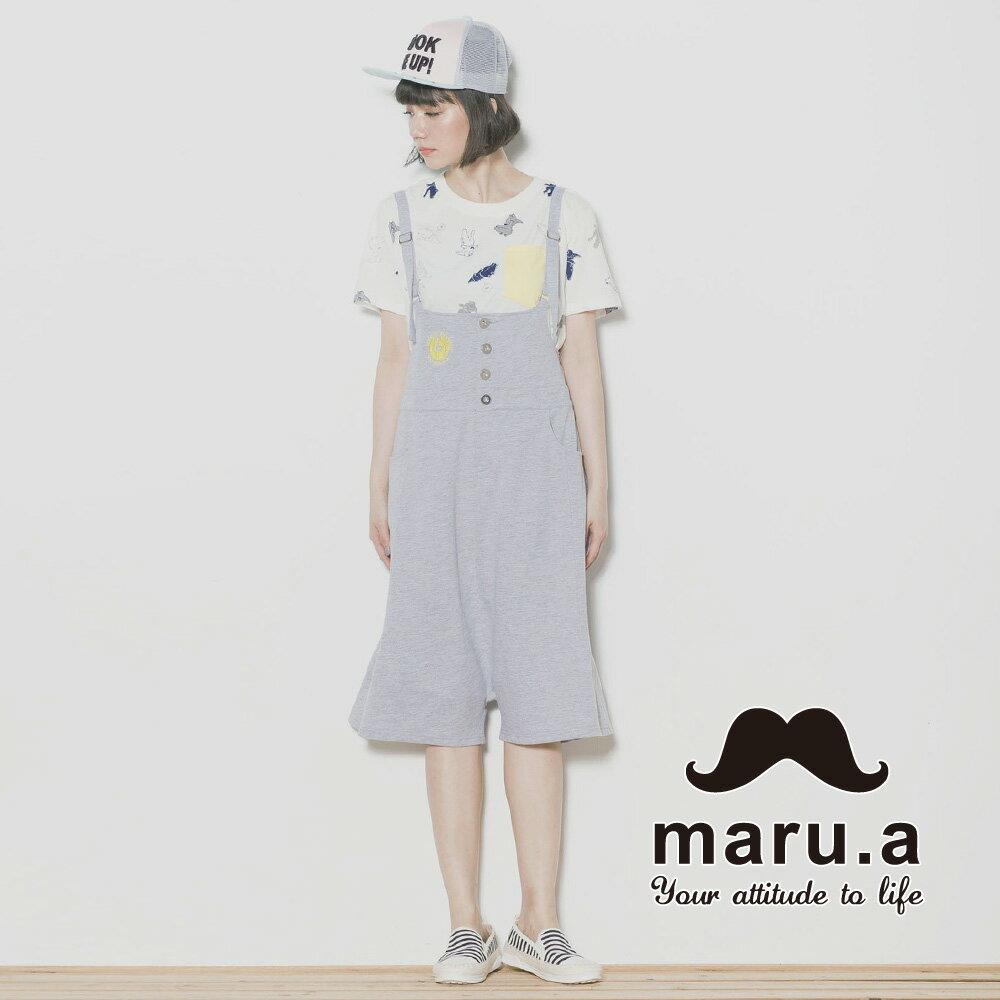 【maru.a】親子裝鶴刺繡低檔5分吊帶褲7315218 3