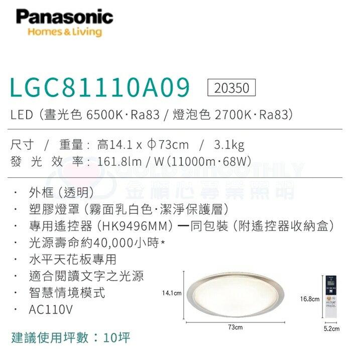 ☼金順心☼專業照明~原廠保固 Panasonic 國際牌 LED LGC81110A09 透明框 68W 遙控吸頂燈