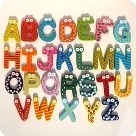 *彩色童話*26個字母 安全無毒木質磁鐵 彩色冰箱貼 留言貼 白板貼(黑色磁鐵)