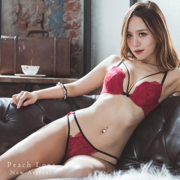 內衣 法式美繩成套內衣組(四色:紅、黑、白、粉)-胸罩_蜜桃洋房 3