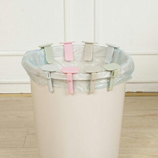 ♚MY COLOR♚多功能掛勾垃圾袋固定夾(2入) 創意 廚房 居家 辦公室 垃圾桶 防脫落 廁所 夾子【N43】