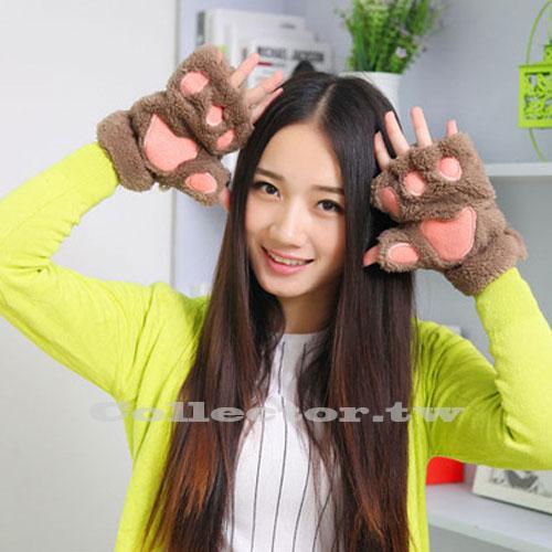 【M17030901】可愛貓爪半指手套 毛絨熊掌手套 可愛女生加厚絨毛保暖冬季手套