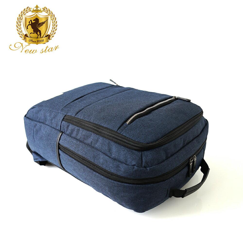 韓風簡約時尚防水雙層拉鍊口袋後背包包 NEW STAR BK238 5