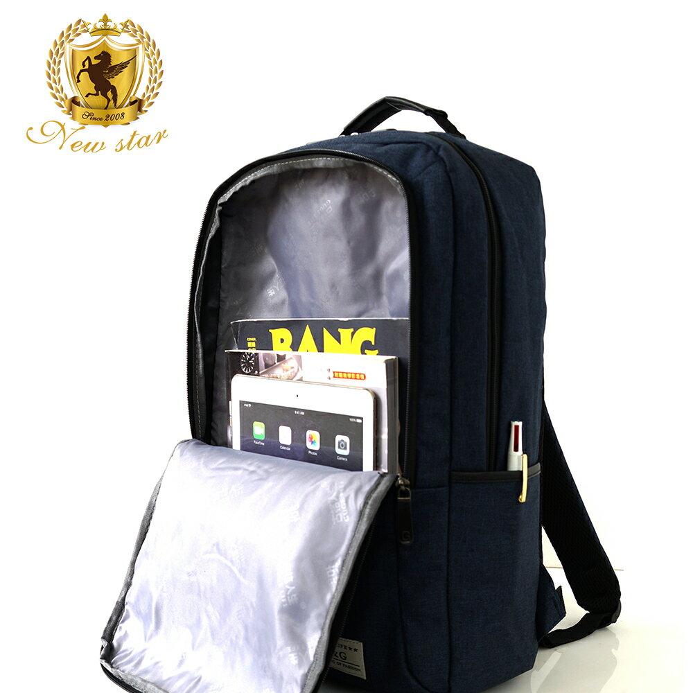 韓風簡約時尚防水雙層拉鍊口袋後背包包 NEW STAR BK238 9