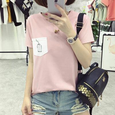 短袖T恤   造型口袋印花短袖T恤 3色 【T-17-0043】LYNNSHOP