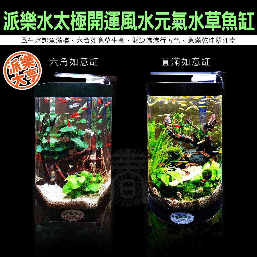 派樂大亨 創意無限生態水族缸(送LED燈+過濾器) 風水招財如意水族箱 生態魚缸 水草造景水槽 辦公室內客廳開運佈局