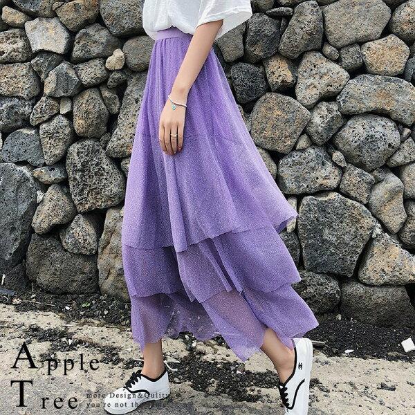 AT日韓-韓國,三層蛋糕網紗長裙3色【806006】