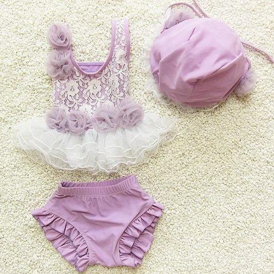 大小女童韓國寶寶嬰幼兒夏季可愛蕾絲比基尼分體式兒童泳衣+泳帽三件套(紫色款)