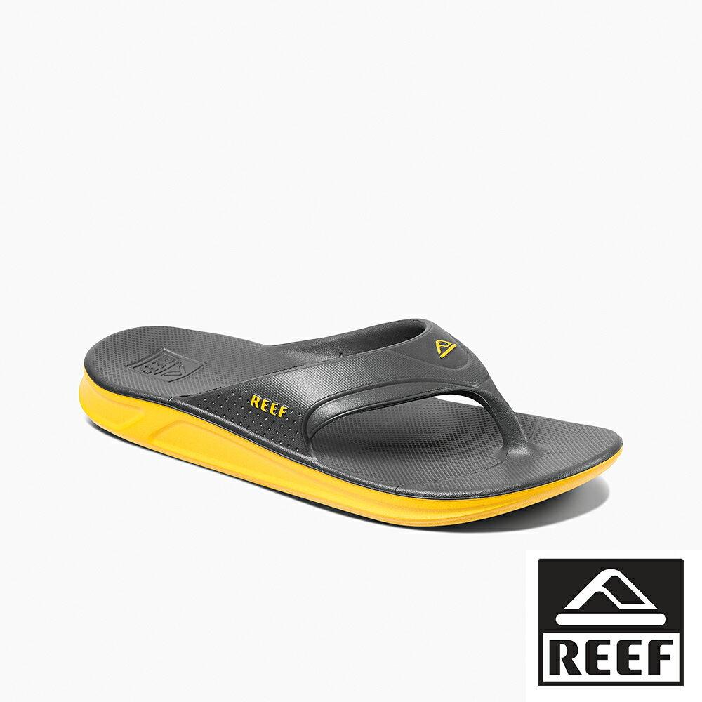 【新品上市】REEF 側編織帶 防水橡膠 男款夾腳人字拖鞋 . 灰 / 黃 RF0A3ONCGRY 0