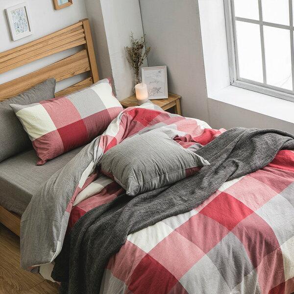 戀家小舖:床包被套組雙人【質素日常系列-紅灰格紋】質感水洗棉,含兩件枕套,戀家小舖