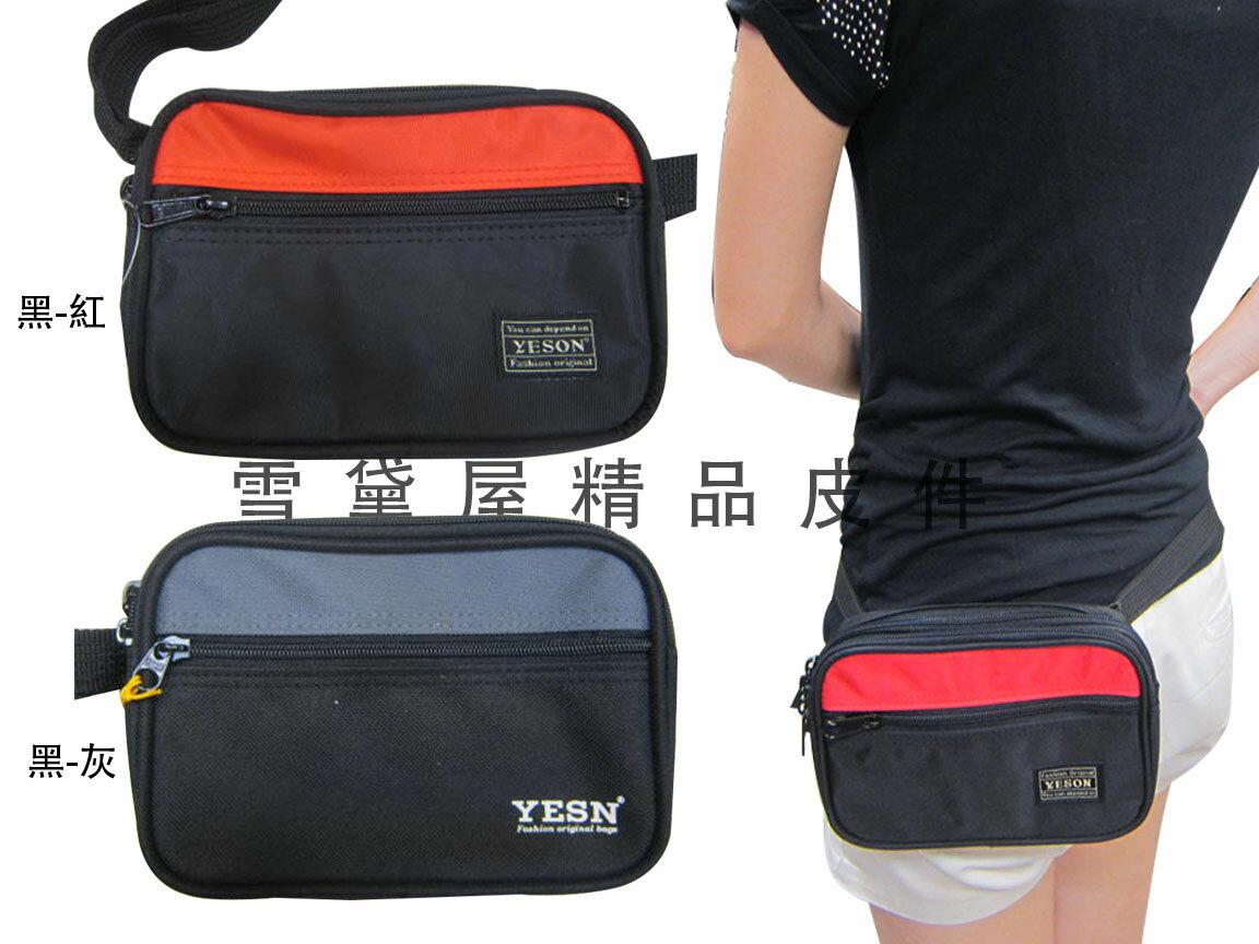 ~雪黛屋~YESON 腰包隨身物品穿於皮帶固定二層主袋台灣製造高品質YKK拉鍊零件高單數防水尼龍布材質 Y520