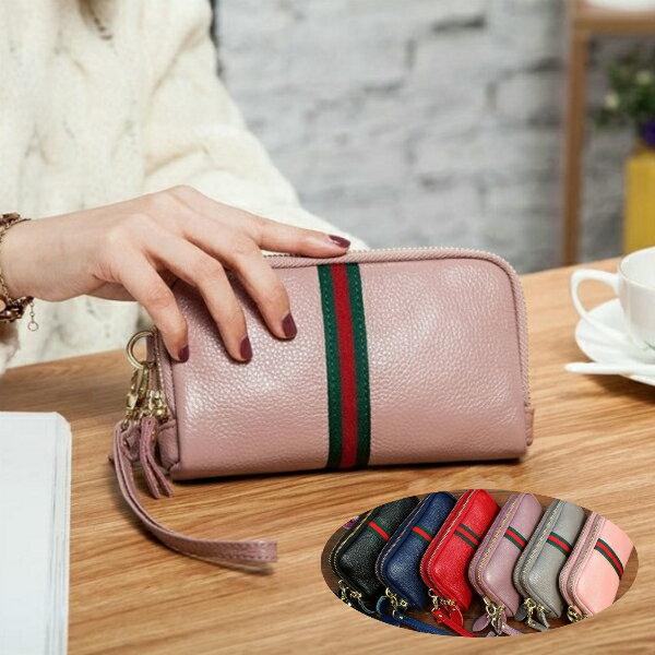 【免運】真皮牛皮雙拉鍊可裝5.5吋手機皮夾皮包錢夾零錢包手機包手拿包手抓包女包女夾LH415 【喜番屋】