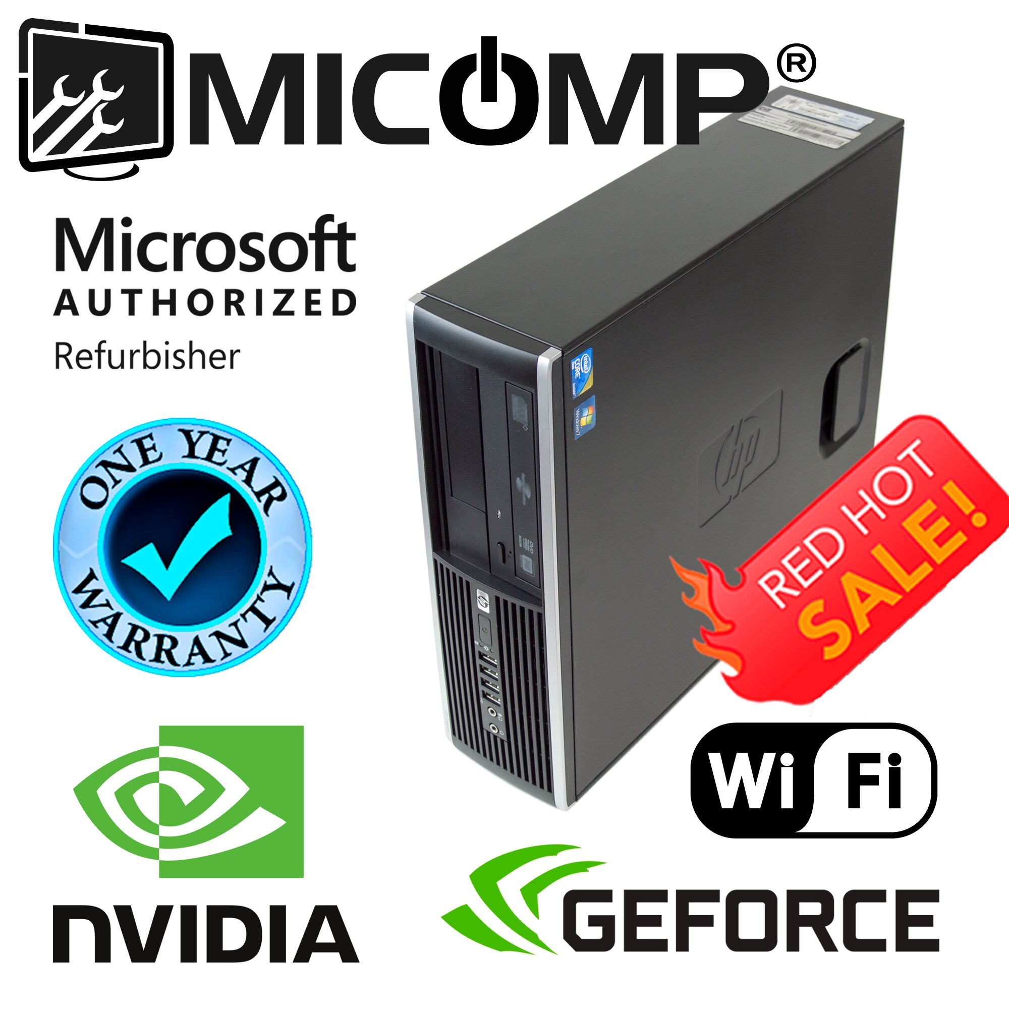 MICOMP: Fast HP Gaming Computer Nvidia GT 1030 Video Core i5