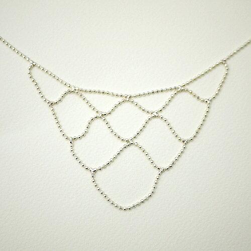 垂墜網狀線條小銀珠 925純銀項鍊【9-150】ECO安珂