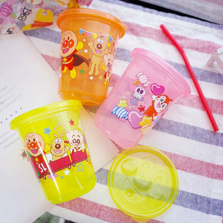 PGS7 日本卡通系列商品 - 日本 麵包超人 塑膠 吸管 杯子 組合 水杯 兒童杯 塑膠杯【SEZ7213】