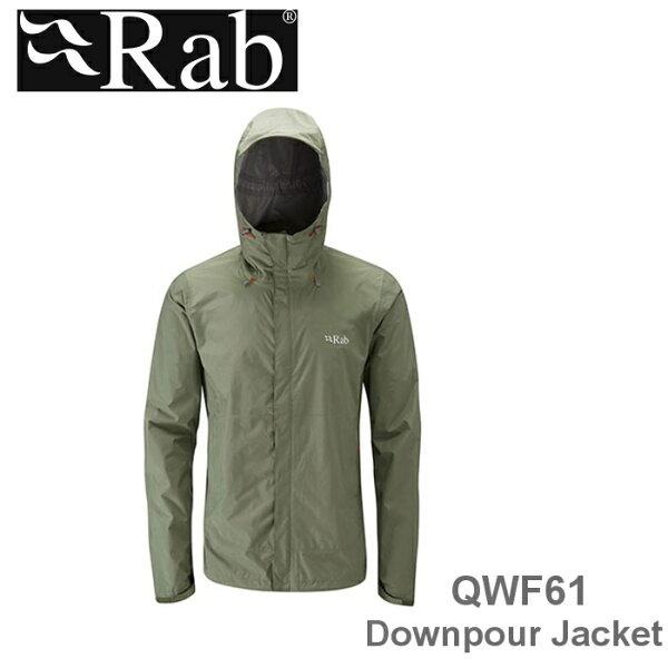 【速捷戶外】英國RABQWF61DownpourJacket男高透氣連帽防水外套(田野綠),登山雨衣,防水外套