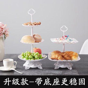 【免運】塑料水果盤三層蛋糕托盤架歐式糖果盤下午茶點心甜品臺擺件架雙層   Cocoa  喜迎新春 全館8.5折起