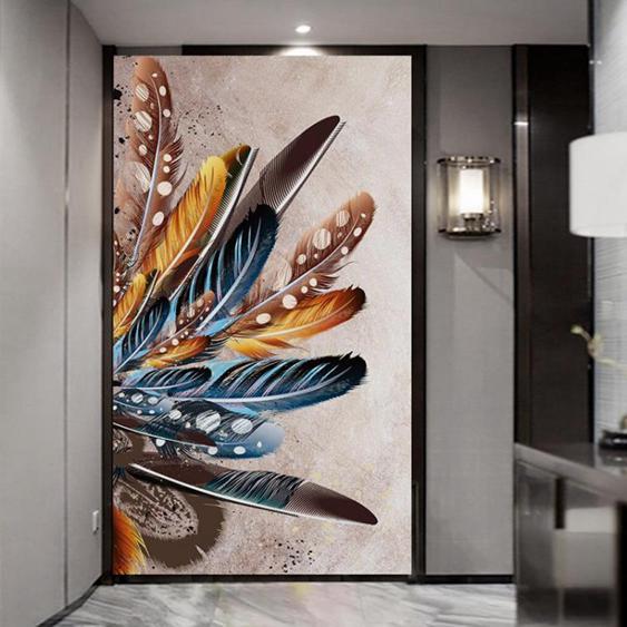 【免運】8D羽毛玄關背景牆布壁紙壁畫3D立體豎版走廊過道進門歐式輕奢牆紙 陽光好物 喜迎新春 全館8.5折起