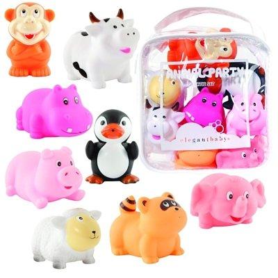 【美國ElegantBaby】洗澡玩具8入組-可愛動物派對#40500