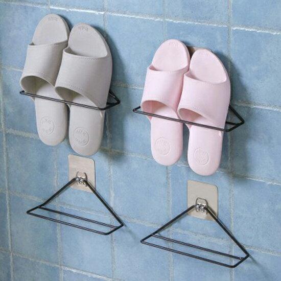 ♚MY COLOR♚壁掛式鐵藝鞋架 掛架 黏貼式壁掛鞋架 浴室 拖鞋架 家用 客廳 鞋托 鞋子收納架【N421】