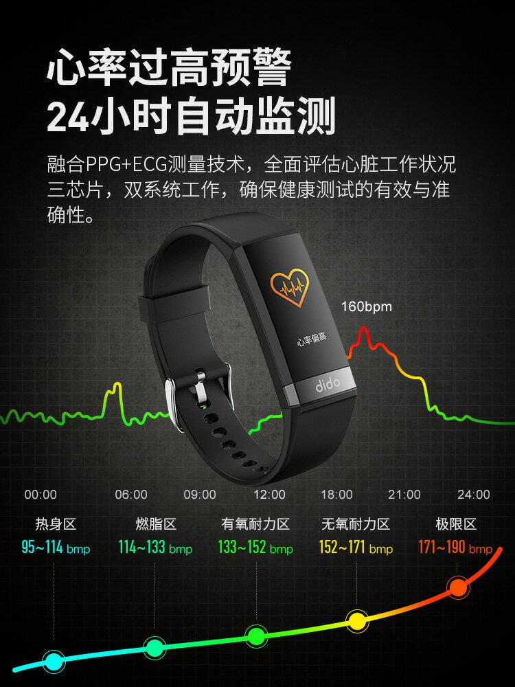 dido血壓心率智慧手環運動多功能高精準血氧電圖監測量儀男女情侶心臟睡眠老人健康手表通用oppo華為手機