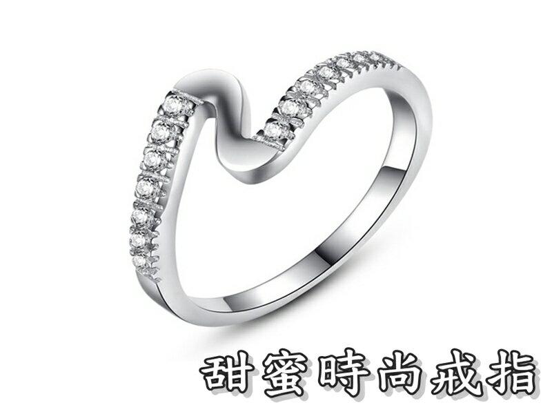 ~316小舖~~TC26~^(925銀白金戒指~甜蜜 戒指  鋯石水鑽戒指 925銀尾戒子
