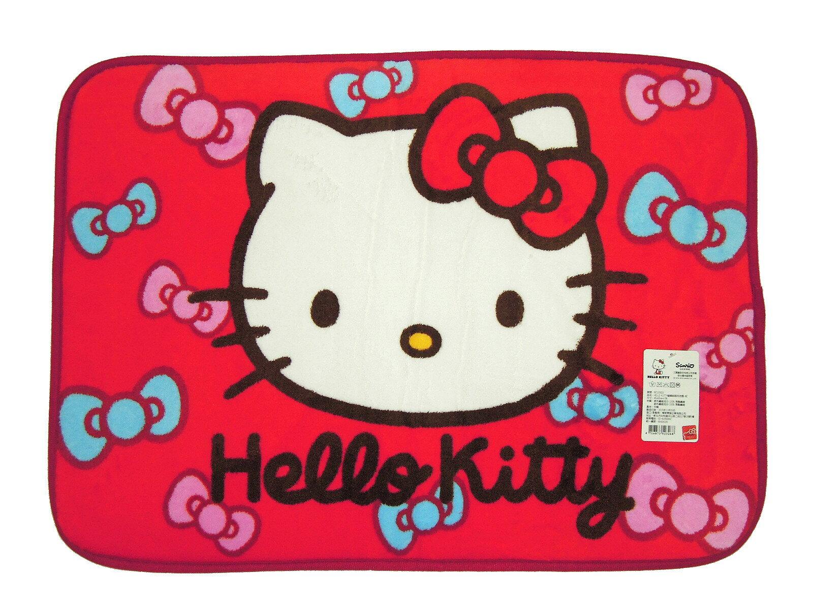 La maison生活小舖《Hello Kitty軟毛地墊腳踏墊》大紅色蝴蝶結繽紛圖案 吸水防滑 觸感柔軟地墊/軟墊/腳踏墊/止滑墊/吸水墊/軟毛墊