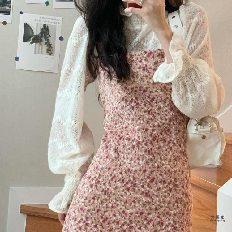 碎花洋裝 A字裙 韓風chic甜美洋氣燈芯絨復古碎花吊帶洋裝 溫柔蕾絲打底衫