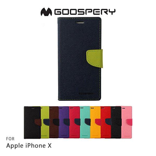 強尼拍賣~GOOSPERYAppleiPhoneXFANCY雙色皮套可站立磁吸插卡側翻皮套保護套手機套