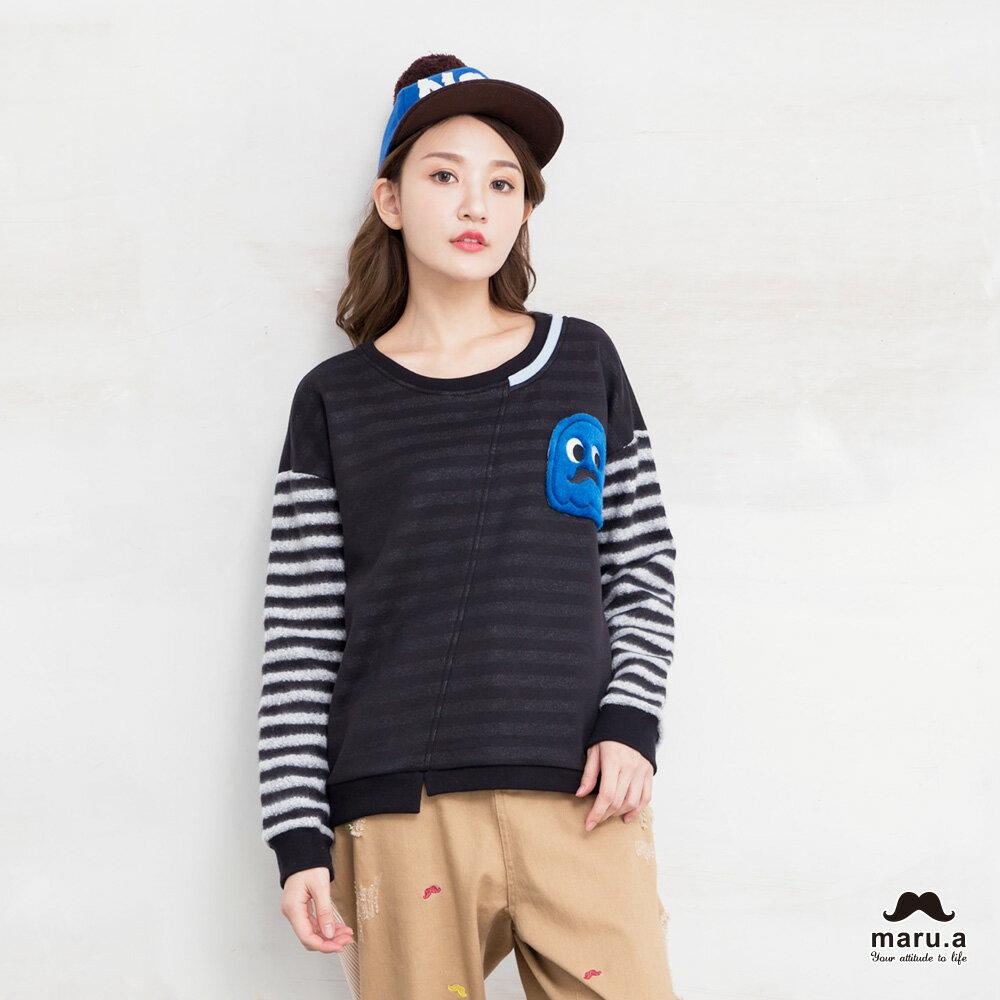 【maru.a】亮眼條紋小幽靈貼布袖T-shirt(2色)7911239 1