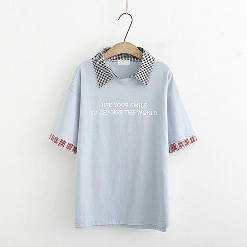 *ORead*條紋拼接字母印花短袖t恤(3色F碼) 0