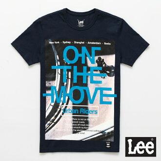 【短T單件390】 Lee 短袖T恤 單車圖案藍色文字印刷-男款(深藍色)