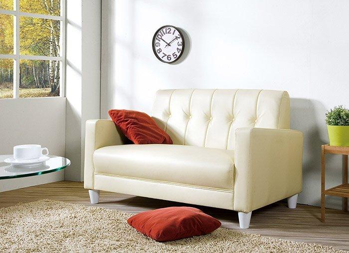 【尚品傢俱】HY-A245-02 東尼米白色皮沙發~不含抱枕 (2人座) 另有黑色