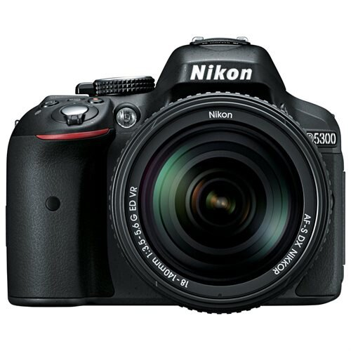 "Nikon D5300 24.2 Megapixel Digital SLR Camera with Lens - 18 mm - 55 mm - Black - 3.2"" LCD - 16:9 - 3.1x Optical Zoom - Optical (IS) - 6000 x 4000 Image - 1920 x 1080 Video - HDMI - PictBridge - HD Movie Mode - Wireless LAN - GPS 0"