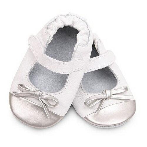 【HELLA 媽咪寶貝】英國 shooshoos 安全無毒真皮手工鞋/學步鞋/嬰兒鞋_銀白芭蕾_VWH80 (公司貨)