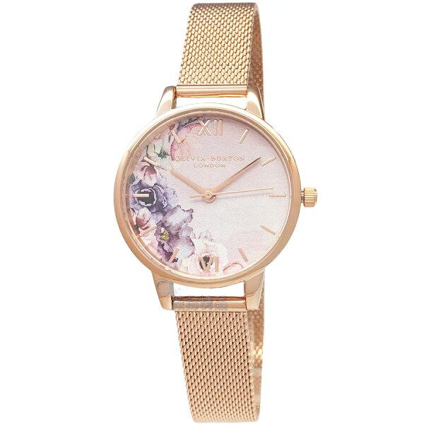 OLIVIABURTONOB16PP39花香水彩粉面玫瑰金色金屬網狀錶帶女錶30mm【錶飾精品】
