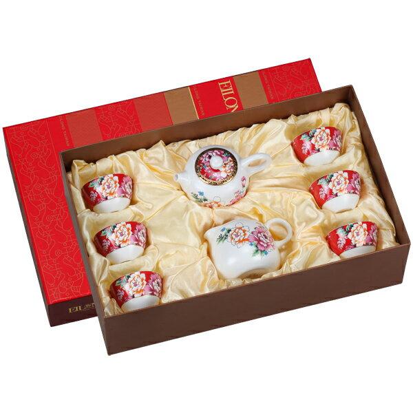 【佑銘嚴選E-GA009-P8-A】囍宴(壺+海+6單杯)8入禮盒茶壺/茶杯/茶包