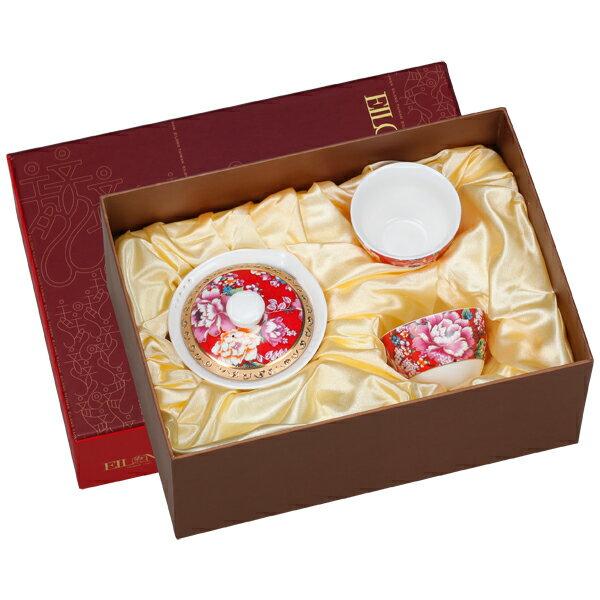 【佑銘嚴選E-GA006-S3-A】囍宴(如意壺+2單杯)3入禮盒茶壺/茶杯/茶包