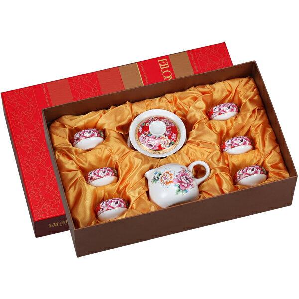 【佑銘嚴選E-GA002-M8-A】囍宴(蓋碗+海+6杯)8入禮盒茶壺/茶杯/茶包